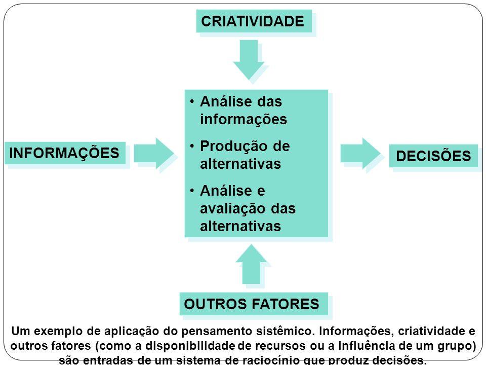 Análise das informações Produção de alternativas Análise e avaliação das alternativas Análise das informações Produção de alternativas Análise e avali