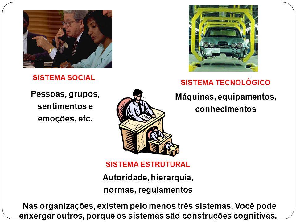 SISTEMA SOCIAL Pessoas, grupos, sentimentos e emoções, etc. SISTEMA TECNOLÓGICO Máquinas, equipamentos, conhecimentos SISTEMA ESTRUTURAL Autoridade, h
