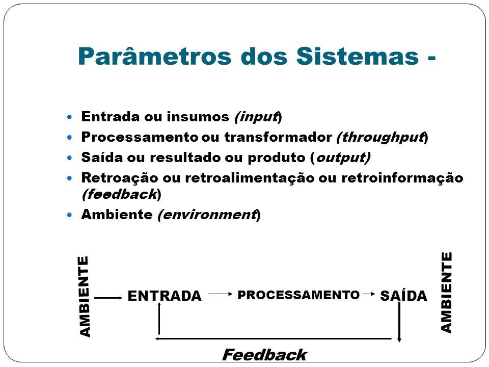 Parâmetros dos Sistemas - Entrada ou insumos (input) Processamento ou transformador (throughput) Saída ou resultado ou produto (output) Retroação ou r