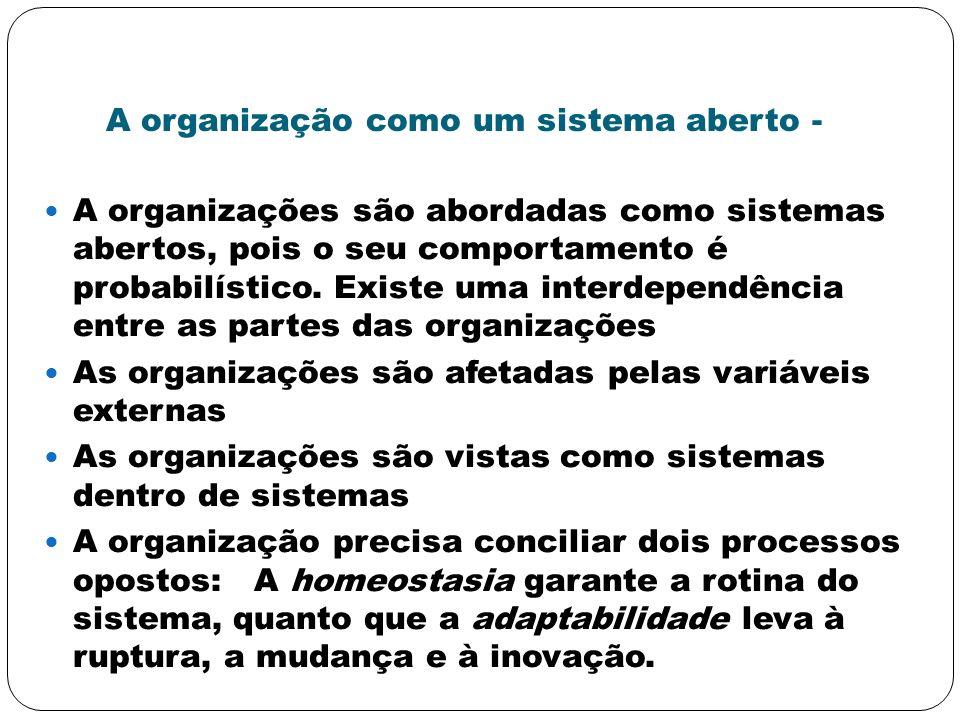 A organização como um sistema aberto - A organizações são abordadas como sistemas abertos, pois o seu comportamento é probabilístico. Existe uma inter