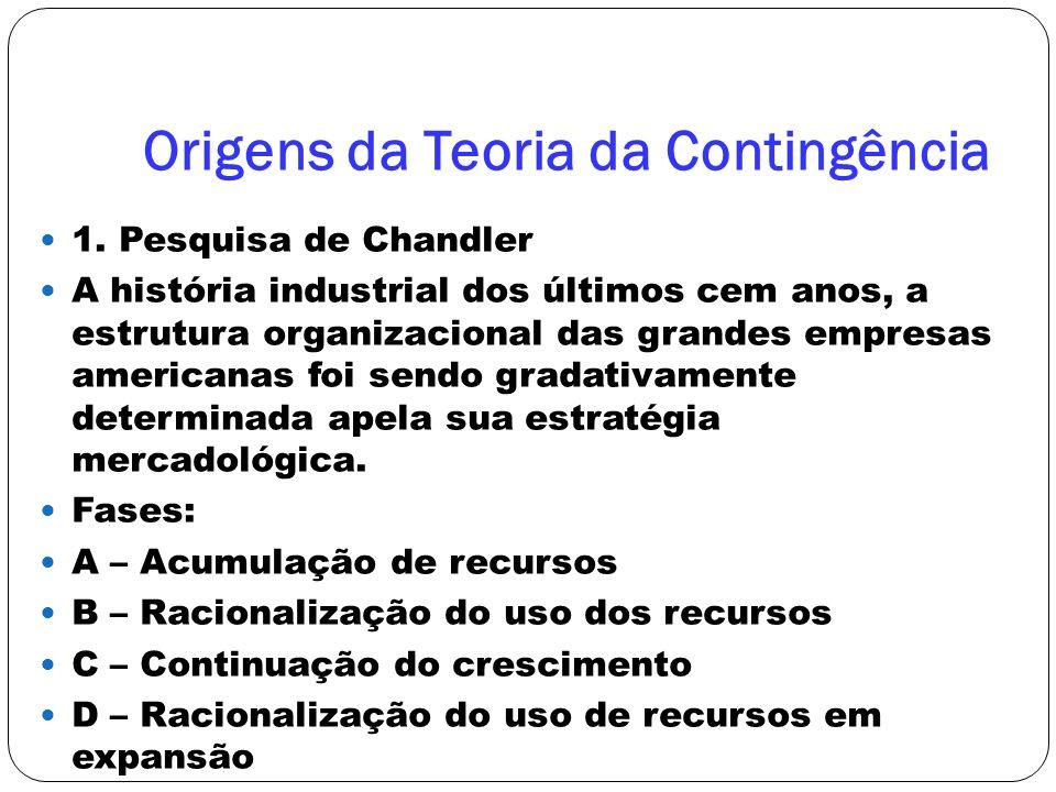 Origens da Teoria da Contingência 1. Pesquisa de Chandler A história industrial dos últimos cem anos, a estrutura organizacional das grandes empresas