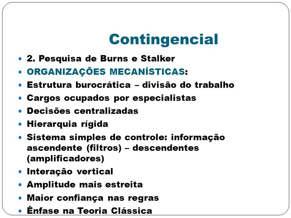 Contingencial 2. Pesquisa de Burns e Stalker ORGANIZAÇÕES MECANÍSTICAS: Estrutura burocrática – divisão do trabalho Cargos ocupados por especialistas