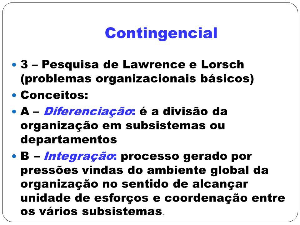 Contingencial 3 – Pesquisa de Lawrence e Lorsch (problemas organizacionais básicos) Conceitos: A – Diferenciação: é a divisão da organização em subsis