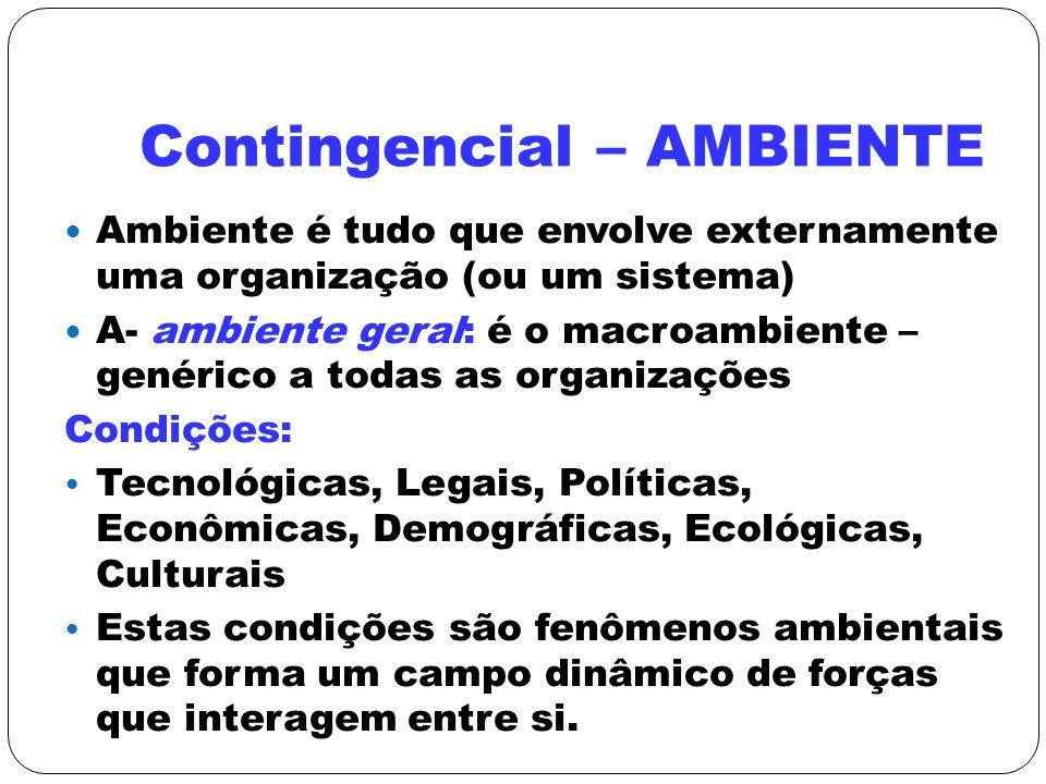 Contingencial – AMBIENTE Ambiente é tudo que envolve externamente uma organização (ou um sistema) A- ambiente geral: é o macroambiente – genérico a to