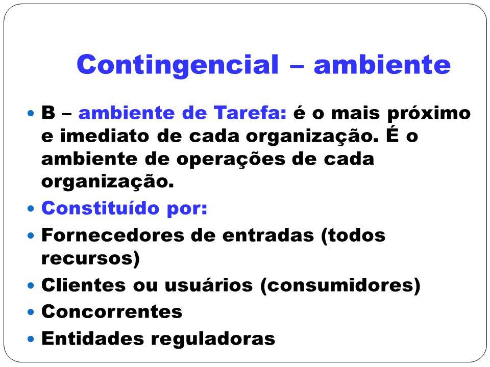 Contingencial – ambiente B – ambiente de Tarefa: é o mais próximo e imediato de cada organização. É o ambiente de operações de cada organização. Const