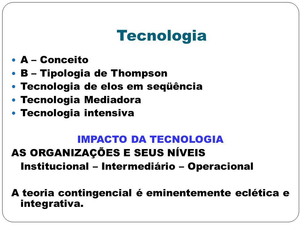 Tecnologia A – Conceito B – Tipologia de Thompson Tecnologia de elos em seqüência Tecnologia Mediadora Tecnologia intensiva IMPACTO DA TECNOLOGIA AS O