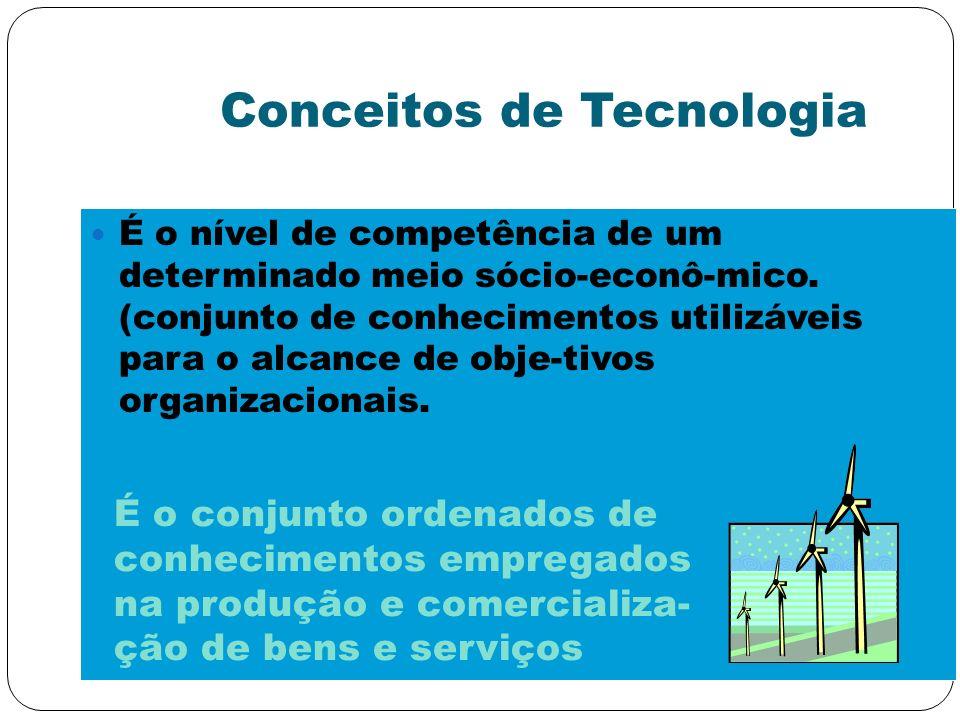 Conceitos de Tecnologia É o nível de competência de um determinado meio sócio-econô-mico. (conjunto de conhecimentos utilizáveis para o alcance de obj