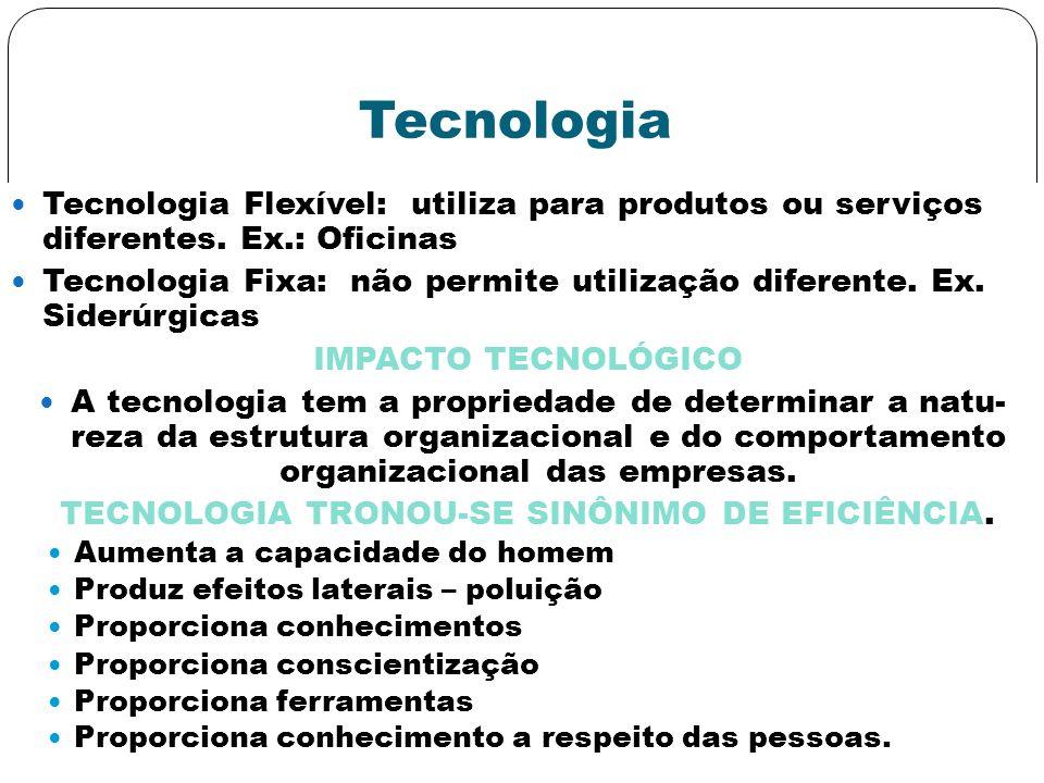 Tecnologia Tecnologia Flexível: utiliza para produtos ou serviços diferentes. Ex.: Oficinas Tecnologia Fixa: não permite utilização diferente. Ex. Sid
