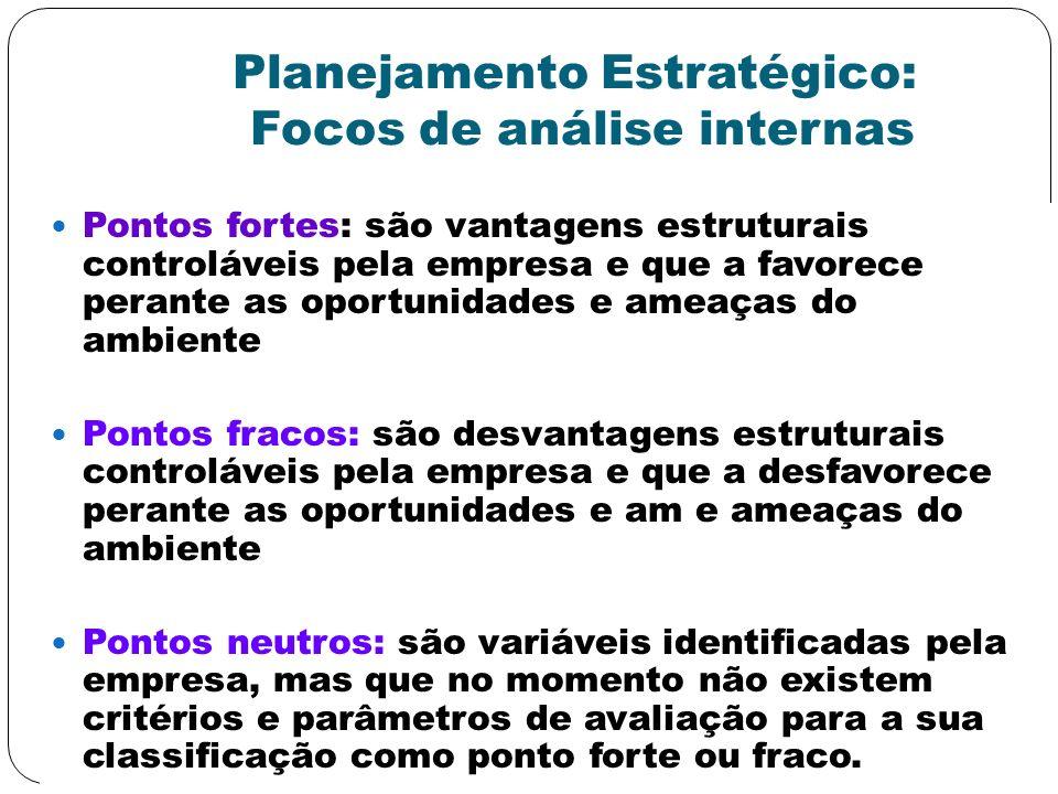 Planejamento Estratégico: Focos de análise internas Pontos fortes: são vantagens estruturais controláveis pela empresa e que a favorece perante as opo