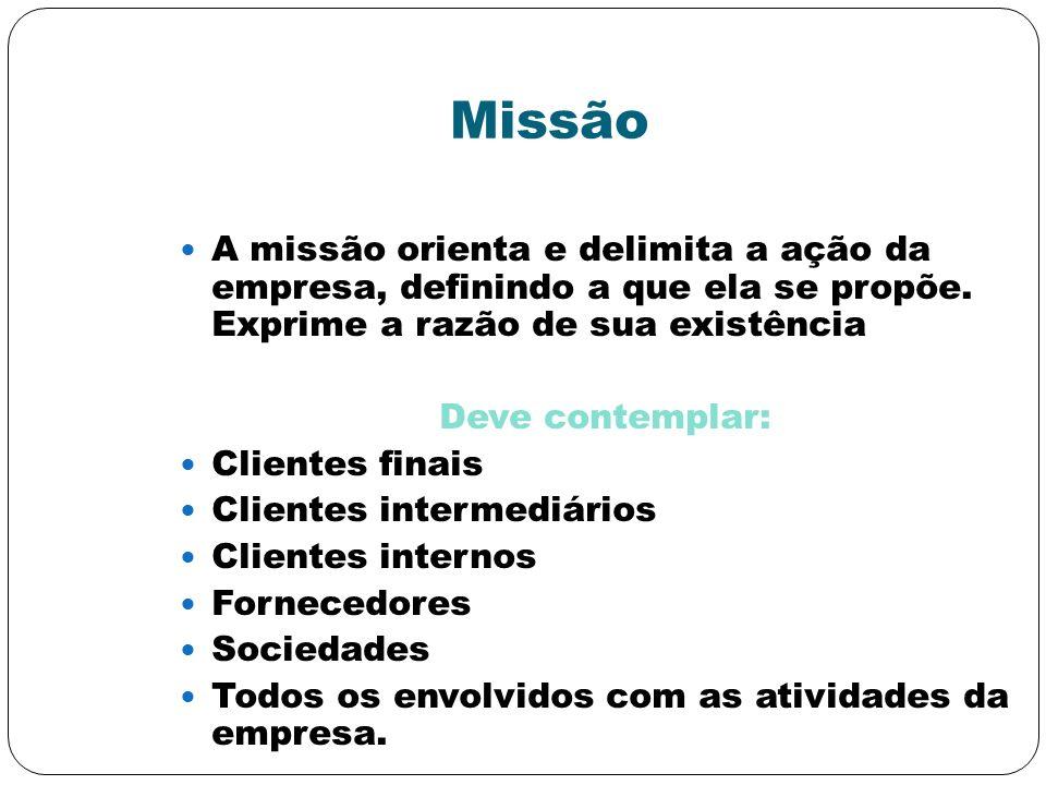 Missão A missão orienta e delimita a ação da empresa, definindo a que ela se propõe. Exprime a razão de sua existência Deve contemplar: Clientes finai