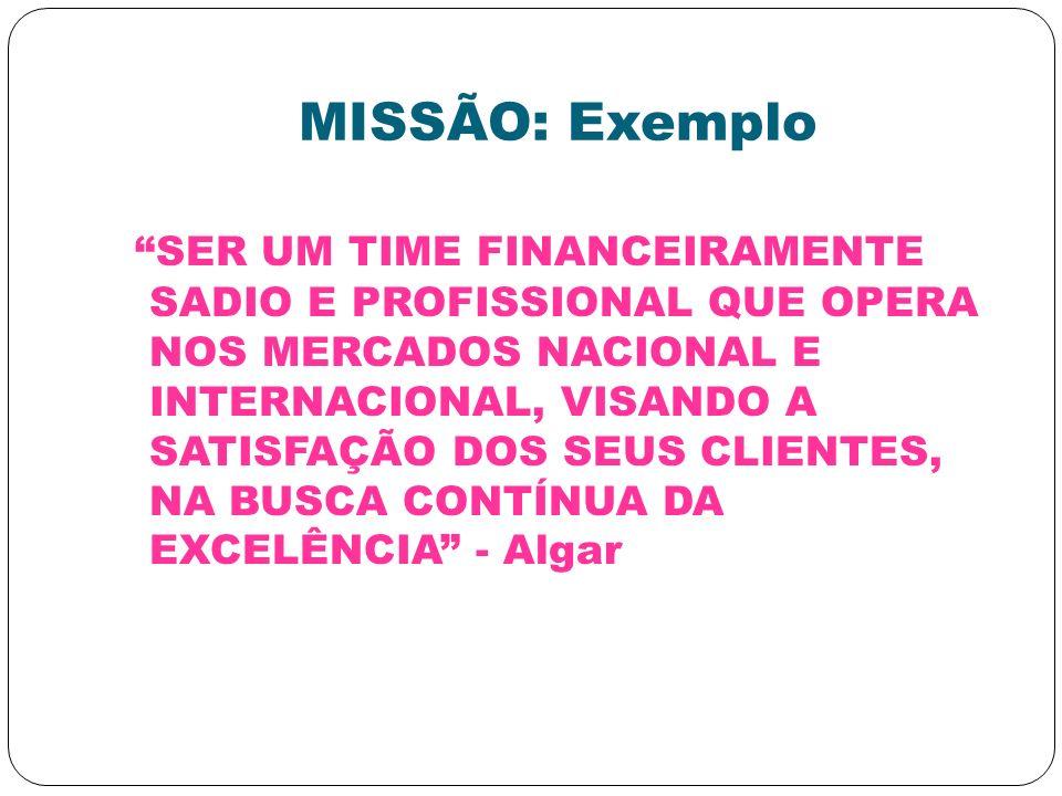 MISSÃO: Exemplo SER UM TIME FINANCEIRAMENTE SADIO E PROFISSIONAL QUE OPERA NOS MERCADOS NACIONAL E INTERNACIONAL, VISANDO A SATISFAÇÃO DOS SEUS CLIENT