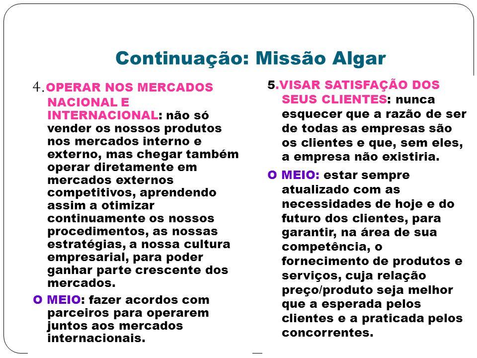 Continuação: Missão Algar 4. OPERAR NOS MERCADOS NACIONAL E INTERNACIONAL: não só vender os nossos produtos nos mercados interno e externo, mas chegar