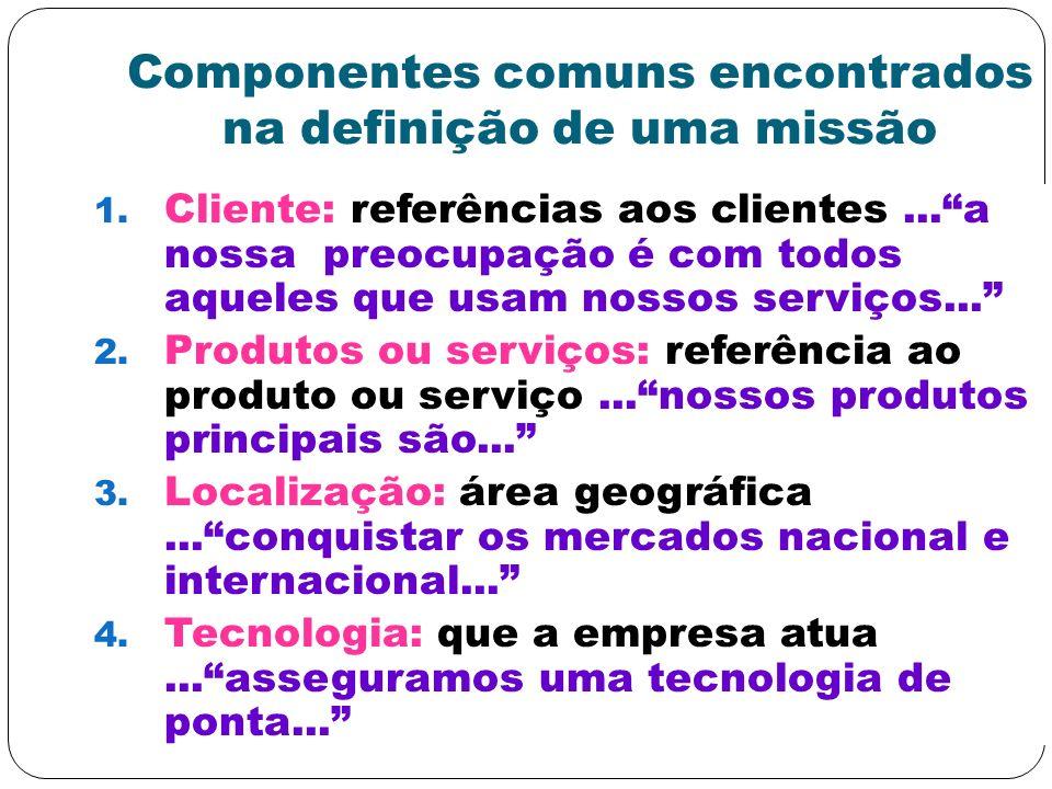 Componentes comuns encontrados na definição de uma missão 1. Cliente: referências aos clientes...a nossa preocupação é com todos aqueles que usam noss