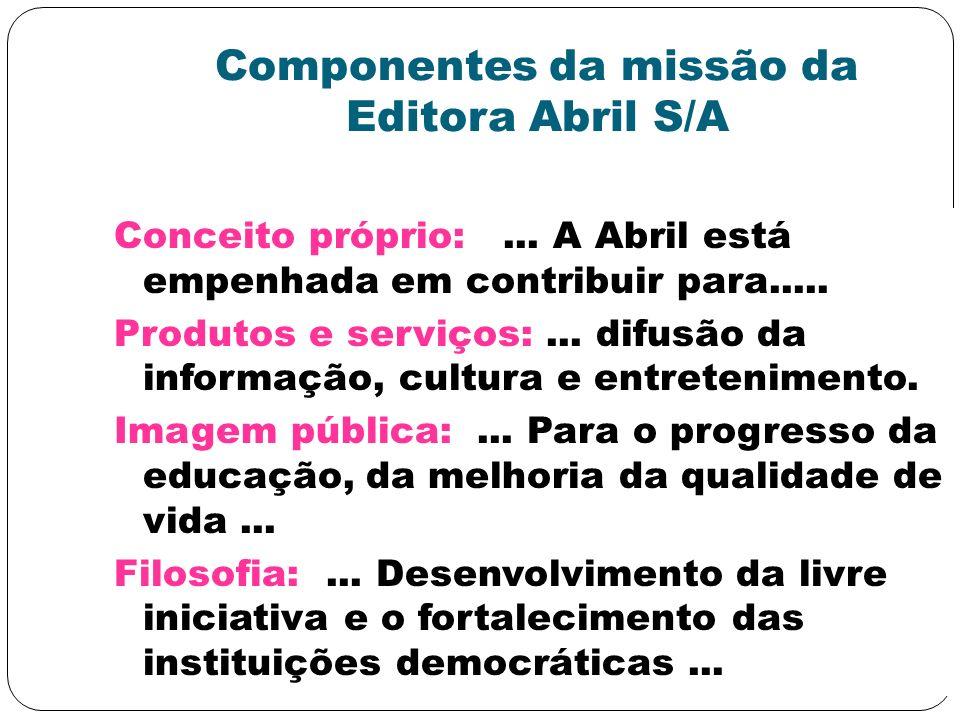 Componentes da missão da Editora Abril S/A Conceito próprio:... A Abril está empenhada em contribuir para..... Produtos e serviços:... difusão da info