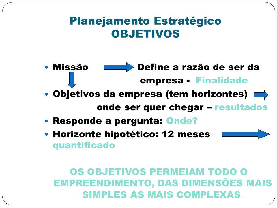 Planejamento Estratégico OBJETIVOS Missão Define a razão de ser da empresa - Finalidade Objetivos da empresa (tem horizontes) onde ser quer chegar – r