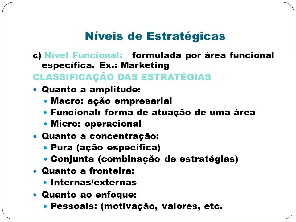 Níveis de Estratégicas c) Nível Funcional: formulada por área funcional específica. Ex.: Marketing CLASSIFICAÇÃO DAS ESTRATÉGIAS Quanto a amplitude: M