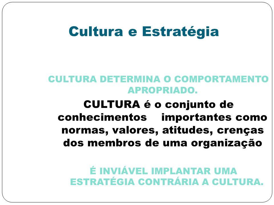 Cultura e Estratégia CULTURA DETERMINA O COMPORTAMENTO APROPRIADO. CULTURA é o conjunto de conhecimentos importantes como normas, valores, atitudes, c
