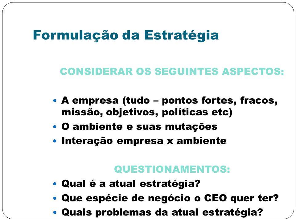 Formulação da Estratégia CONSIDERAR OS SEGUINTES ASPECTOS: A empresa (tudo – pontos fortes, fracos, missão, objetivos, políticas etc) O ambiente e sua