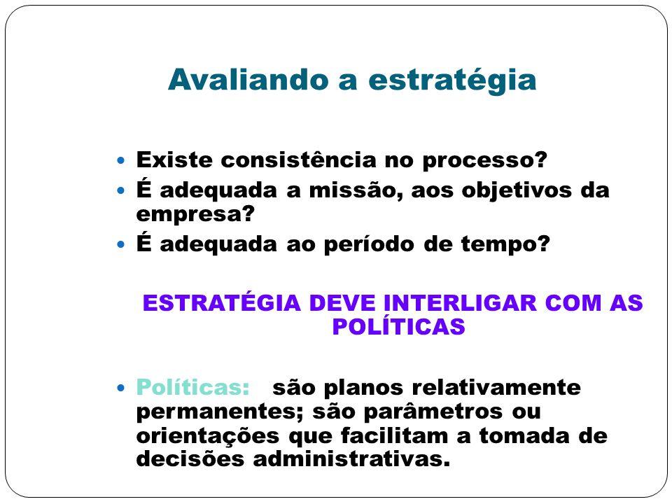 Avaliando a estratégia Existe consistência no processo? É adequada a missão, aos objetivos da empresa? É adequada ao período de tempo? ESTRATÉGIA DEVE