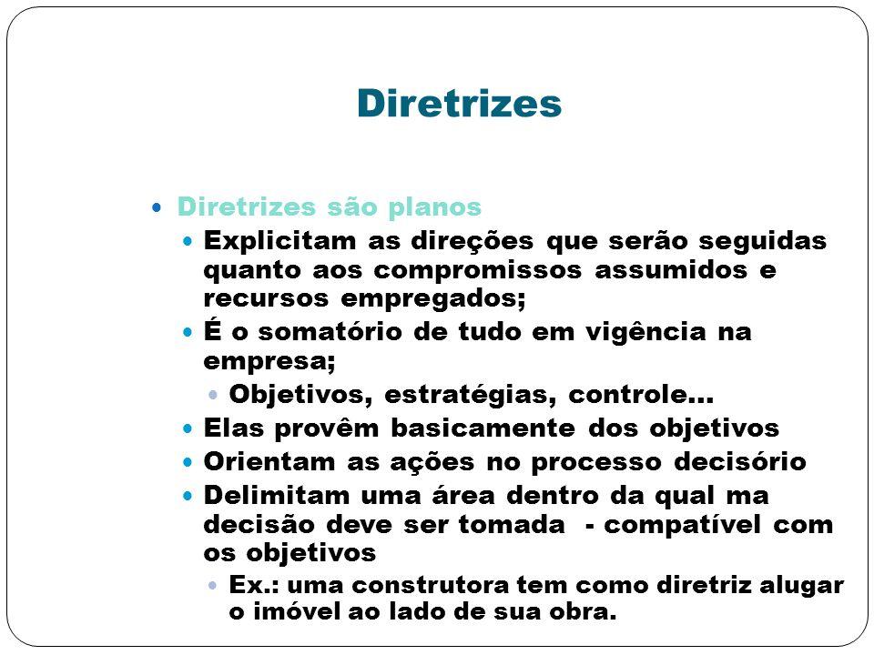 Diretrizes Diretrizes são planos Explicitam as direções que serão seguidas quanto aos compromissos assumidos e recursos empregados; É o somatório de t