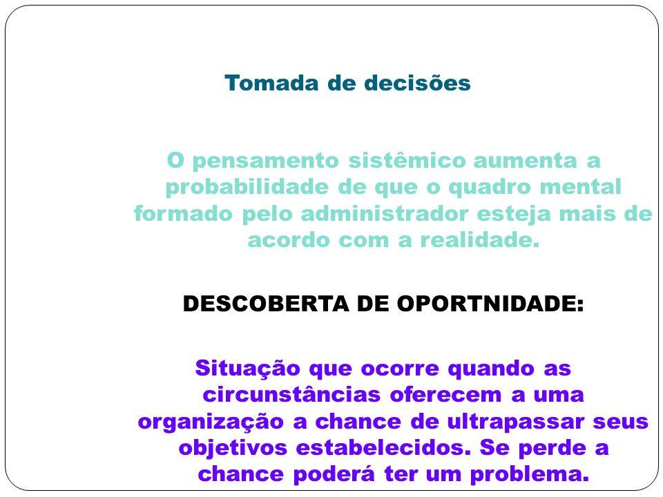 Tomada de decisões O pensamento sistêmico aumenta a probabilidade de que o quadro mental formado pelo administrador esteja mais de acordo com a realid