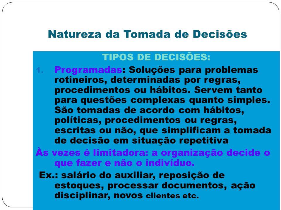 Natureza da Tomada de Decisões TIPOS DE DECISÕES: 1. Programadas: Soluções para problemas rotineiros, determinadas por regras, procedimentos ou hábito