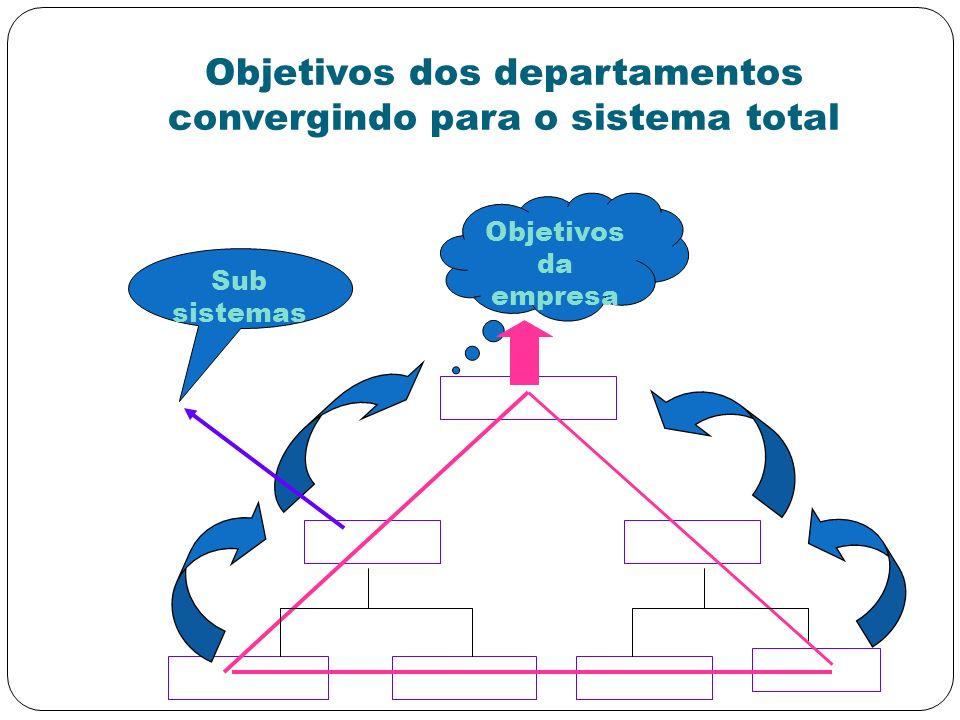 Objetivos dos departamentos convergindo para o sistema total Objetivos da empresa Sub sistemas