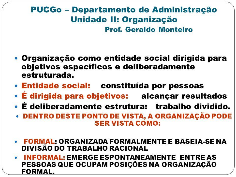 PUCGo – Departamento de Administração Unidade II: Organização Prof. Geraldo Monteiro Organização como entidade social dirigida para objetivos específi