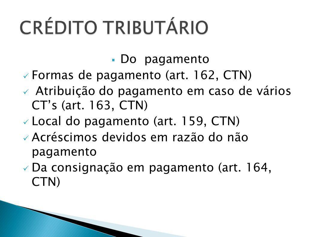 Do pagamento Formas de pagamento (art. 162, CTN) Atribuição do pagamento em caso de vários CTs (art. 163, CTN) Local do pagamento (art. 159, CTN) Acré