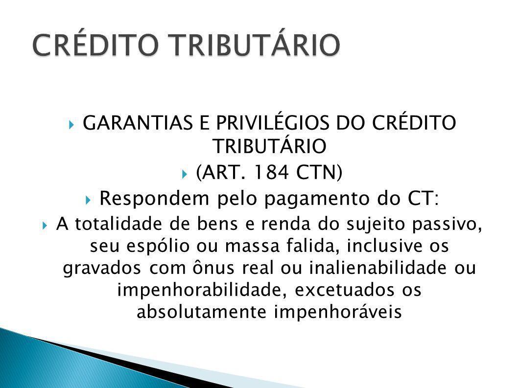GARANTIAS E PRIVILÉGIOS DO CRÉDITO TRIBUTÁRIO (ART. 184 CTN) Respondem pelo pagamento do CT: A totalidade de bens e renda do sujeito passivo, seu espó