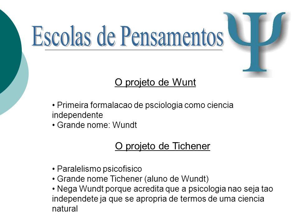 O projeto de Wunt Primeira formalacao de psciologia como ciencia independente Grande nome: Wundt O projeto de Tichener Paralelismo psicofisico Grande