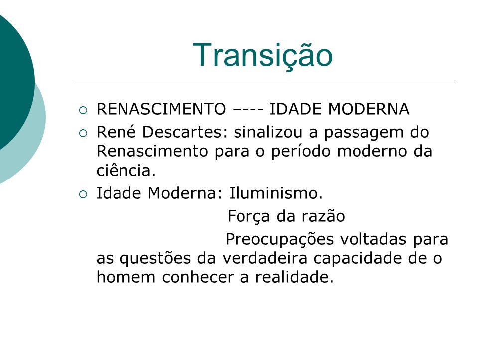 Transição RENASCIMENTO –--- IDADE MODERNA René Descartes: sinalizou a passagem do Renascimento para o período moderno da ciência. Idade Moderna: Ilumi