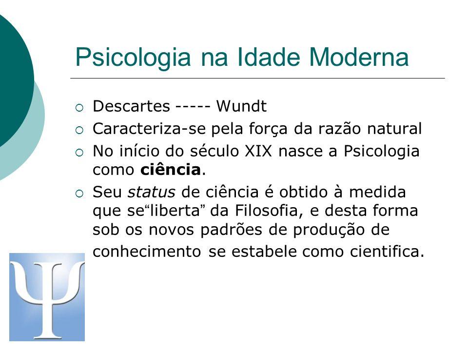 Psicologia na Idade Moderna Descartes ----- Wundt Caracteriza-se pela força da razão natural No início do século XIX nasce a Psicologia como ciência.
