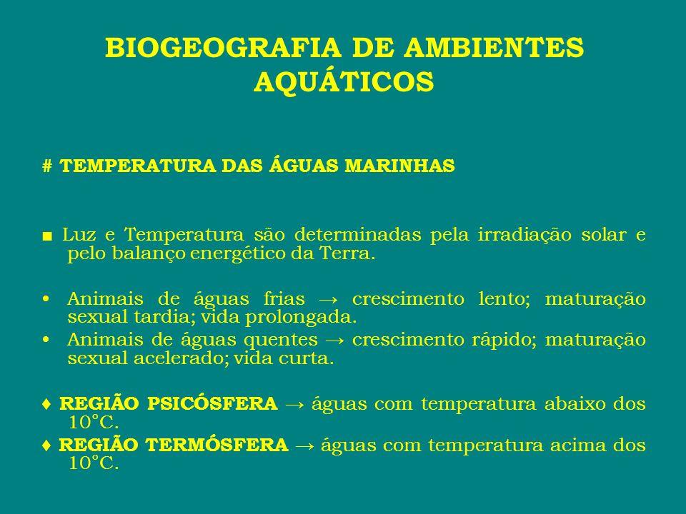 # TEMPERATURA DAS ÁGUAS MARINHAS Luz e Temperatura são determinadas pela irradiação solar e pelo balanço energético da Terra. Animais de águas frias c