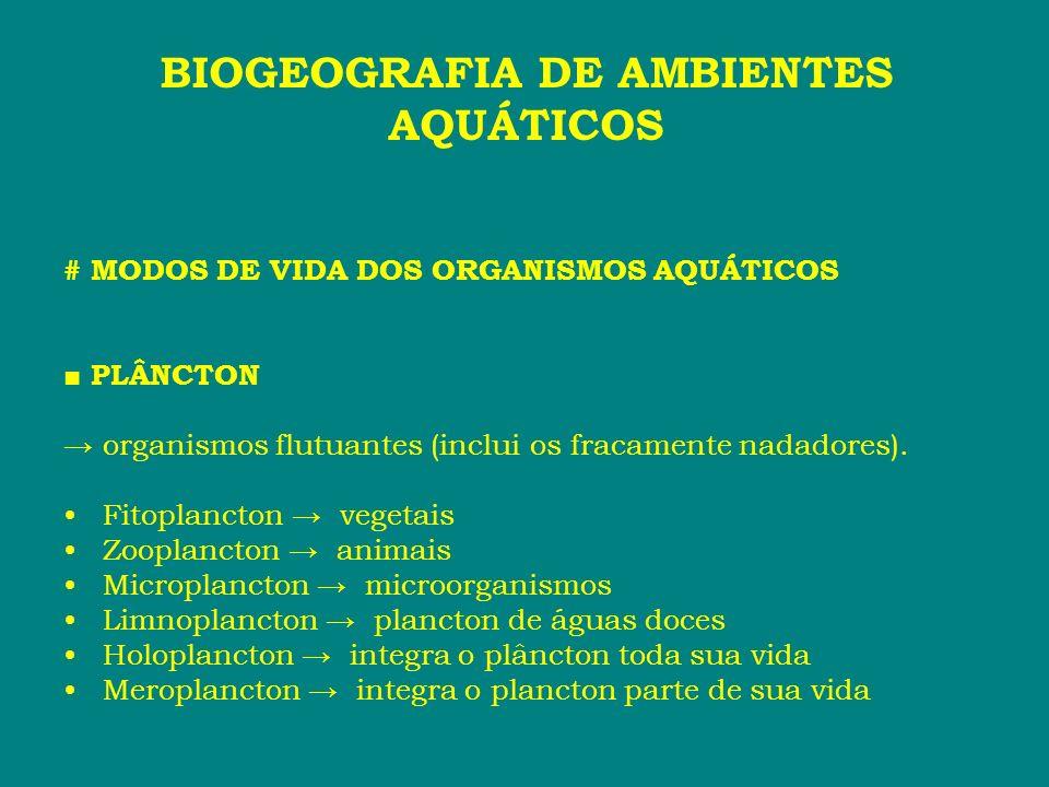 # MODOS DE VIDA DOS ORGANISMOS AQUÁTICOS PLÂNCTON organismos flutuantes (inclui os fracamente nadadores). Fitoplancton vegetais Zooplancton animais Mi