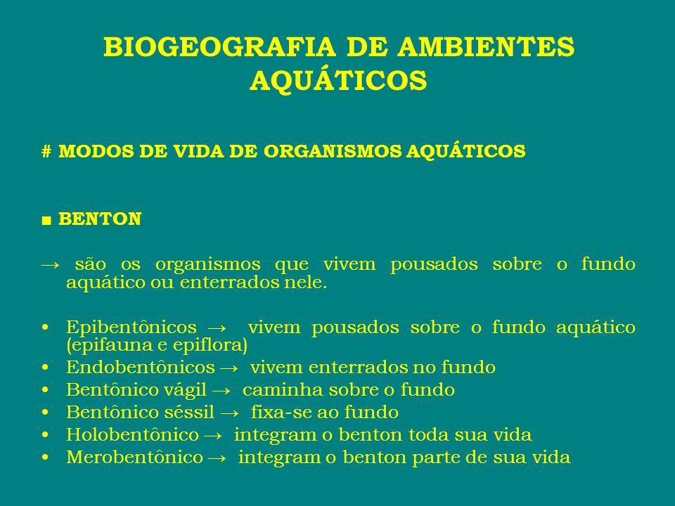 # MODOS DE VIDA DE ORGANISMOS AQUÁTICOS BENTON são os organismos que vivem pousados sobre o fundo aquático ou enterrados nele. Epibentônicos vivem pou