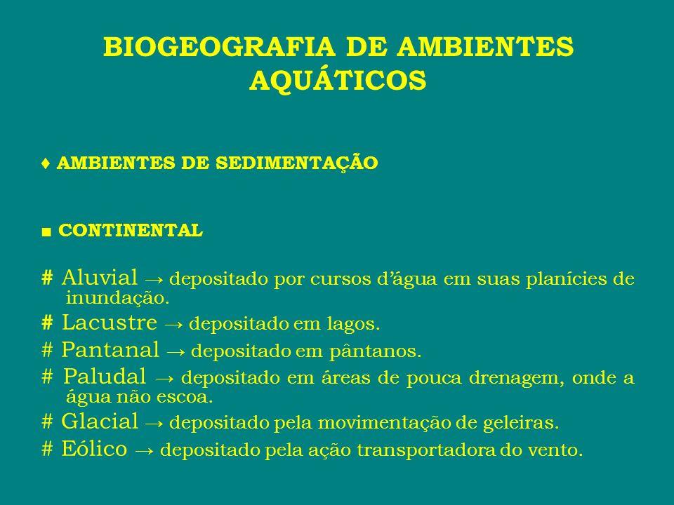 AMBIENTES DE SEDIMENTAÇÃO CONTINENTAL # Aluvial depositado por cursos dágua em suas planícies de inundação. # Lacustre depositado em lagos. # Pantanal