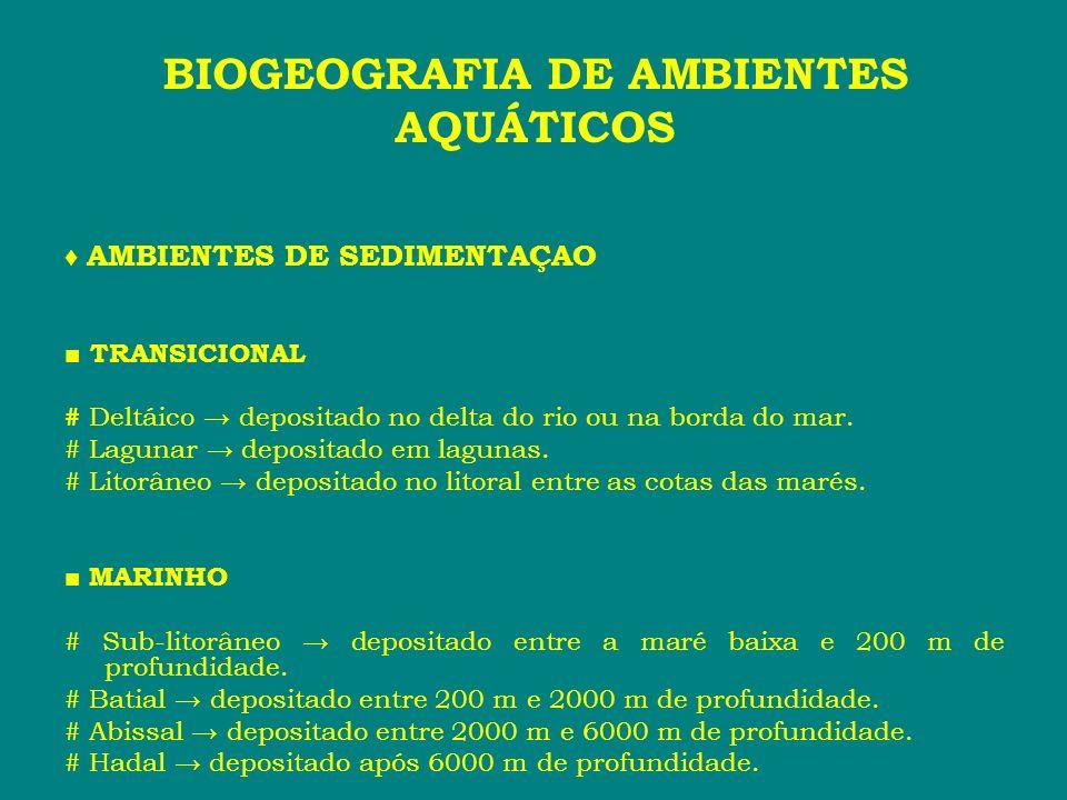 AMBIENTES DE SEDIMENTAÇAO TRANSICIONAL # Deltáico depositado no delta do rio ou na borda do mar. # Lagunar depositado em lagunas. # Litorâneo deposita