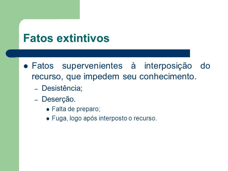 Fatos extintivos Fatos supervenientes à interposição do recurso, que impedem seu conhecimento.