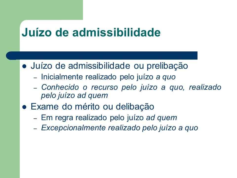 Juízo de admissibilidade Juízo de admissibilidade ou prelibação – Inicialmente realizado pelo juízo a quo – Conhecido o recurso pelo juízo a quo, real