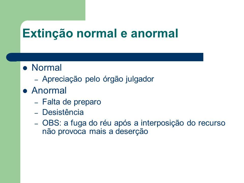 Extinção normal e anormal Normal – Apreciação pelo órgão julgador Anormal – Falta de preparo – Desistência – OBS: a fuga do réu após a interposição do