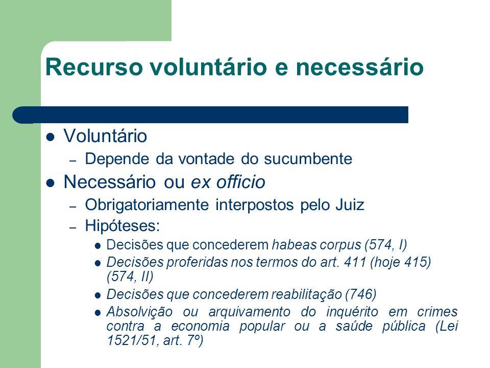 Recurso voluntário e necessário Voluntário – Depende da vontade do sucumbente Necessário ou ex officio – Obrigatoriamente interpostos pelo Juiz – Hipó