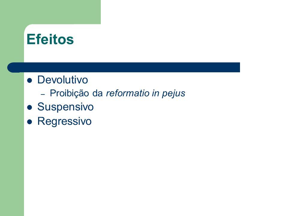 Efeitos Devolutivo – Proibição da reformatio in pejus Suspensivo Regressivo