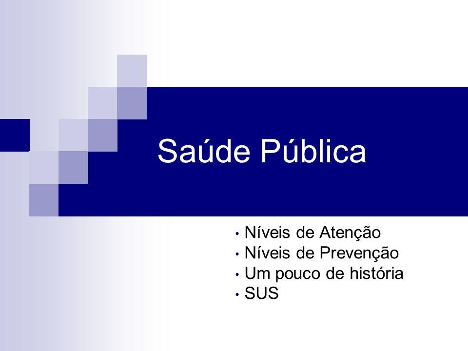 Saúde Pública Níveis de Atenção Níveis de Prevenção Um pouco de história SUS