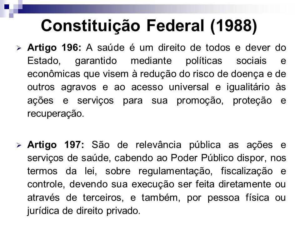 Constituição Federal (1988) Artigo 196: A saúde é um direito de todos e dever do Estado, garantido mediante políticas sociais e econômicas que visem à
