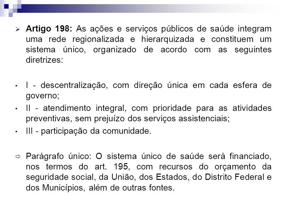 Artigo 198: As ações e serviços públicos de saúde integram uma rede regionalizada e hierarquizada e constituem um sistema único, organizado de acordo