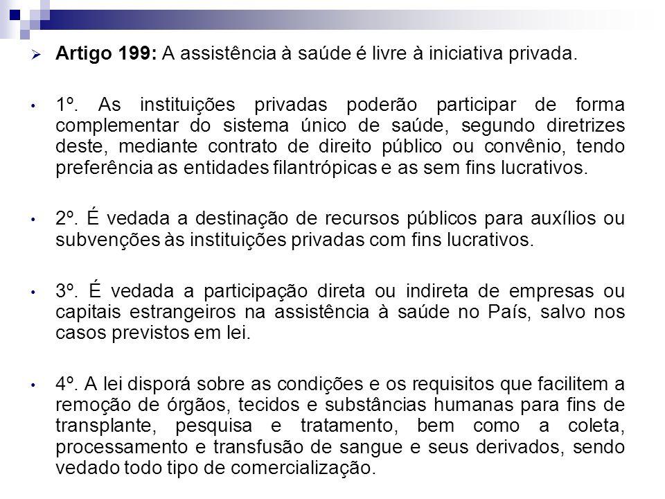 Artigo 199: A assistência à saúde é livre à iniciativa privada. 1º. As instituições privadas poderão participar de forma complementar do sistema único