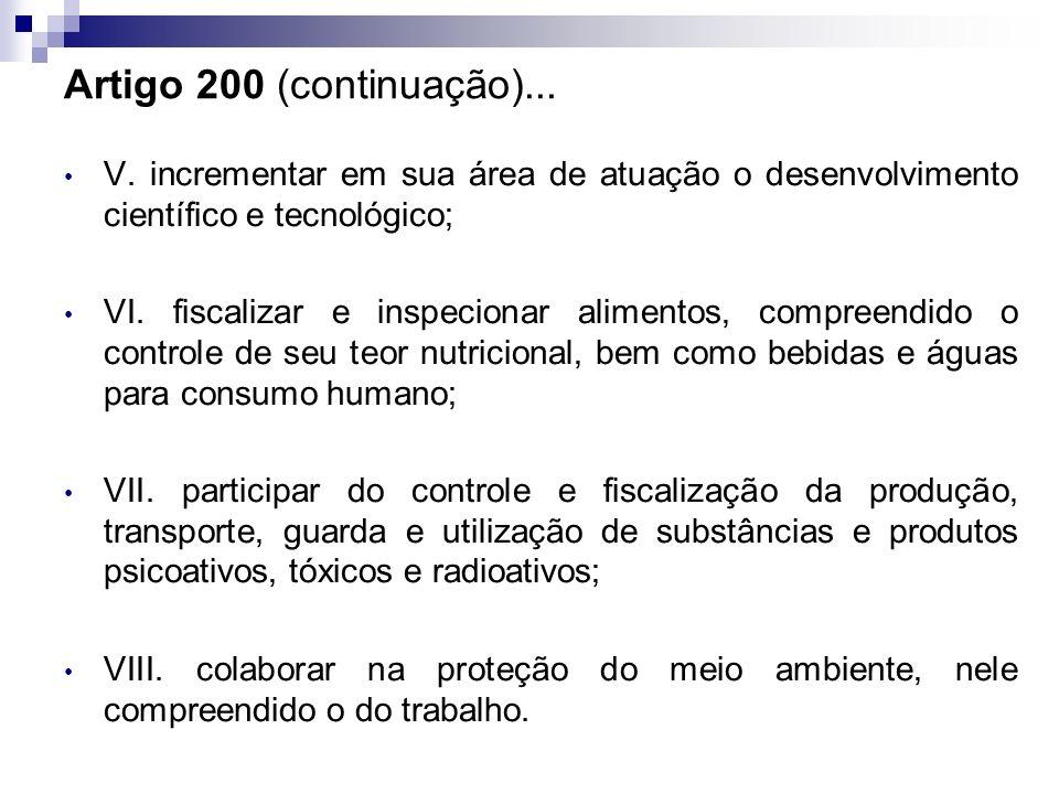 Artigo 200 (continuação)... V. incrementar em sua área de atuação o desenvolvimento científico e tecnológico; VI. fiscalizar e inspecionar alimentos,