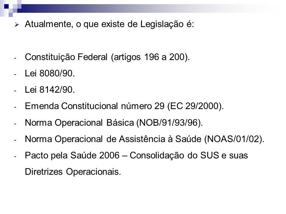 Atualmente, o que existe de Legislação é: - Constituição Federal (artigos 196 a 200). - Lei 8080/90. - Lei 8142/90. - Emenda Constitucional número 29