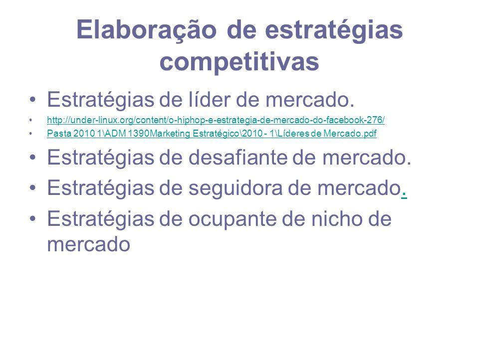 Elaboração de estratégias competitivas Estratégias de líder de mercado. http://under-linux.org/content/o-hiphop-e-estrategia-de-mercado-do-facebook-27
